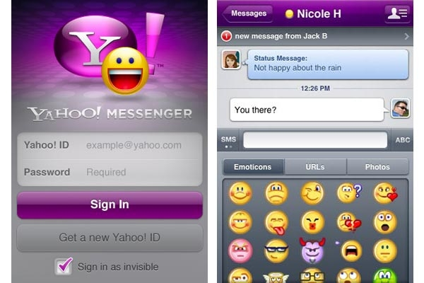 how to use yahoo messenger on iphone